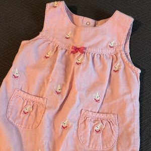 Pink Corduroy Jumpsuit With Embroidered Bunnies 🐰
